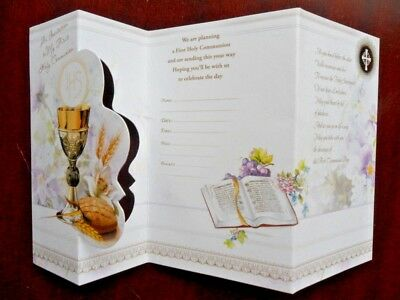 First Holy Communion Invitations, Pack of 6's &12's  with envelopes. Triple fold
