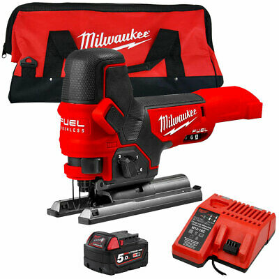 Milwaukee M18FBJS-0X 18V Brushless Jigsaw With 1 x 5.0Ah Battery Charger & Bag