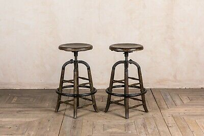Pair Of Burnt Oak Rustic Industrial Style Bar Stools Height Adjustable Cast Iron