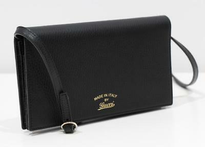 24d85bee2b0c7d GUCCI black SWING gold TRADEMARK wallet with chain MINI bag WOC Authentic   660!