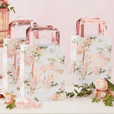 Team Bride Floral Party Bags Rose Gold Hen Night Party Favours Accessories x 5