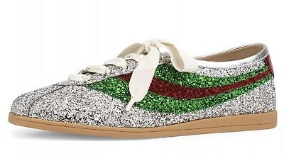 6c75c412bf6 Authentic Gucci Falacer Glitter Bowler Leather Low-Top Trainers Uk 6 Euro 39