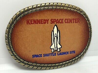Vintage Kennedy Space Center Leather And Brass Finish Belt Buckle Space Shuttle