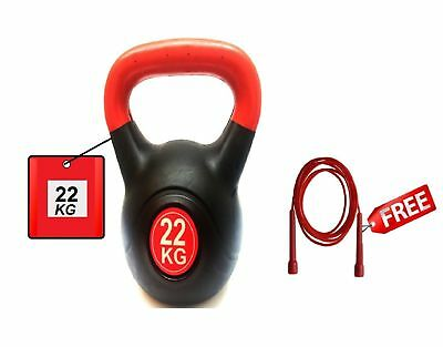 Vinyl Kettlebell Strength Training Home Gym Workouts Fitnes 22Kg Skipping R FREE