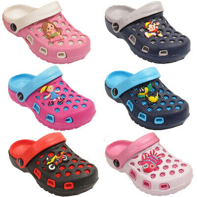 UK Infant Kids Girls Boys Contrast Colors Clogs Slip On Flip Flop Slippers Shoes