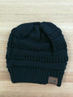 Womens Beanie Knitted Hat Bun Ponytail Hole Black, New