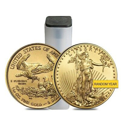 Roll of 50 - 1/10 oz Gold American Eagle $5 Coin BU (Random Year)