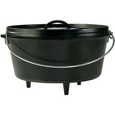 Lodge Skillet Lodge Seasoned Cast Iron Deep Camp Dutch Oven 10 Inch/5 Quart