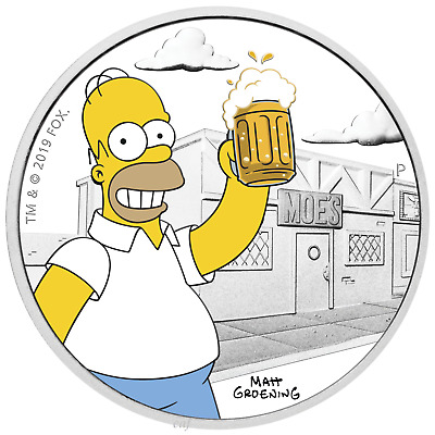 2019 The Simpsons - Homer Simpson 1oz Proof Coin with Box and COA- VERY LIMITED!