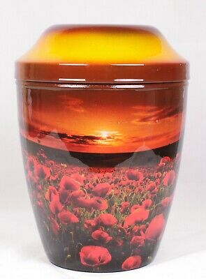Adult Cremation Urn For Ashes Large Decorative Funeral Memorial Urn Poppy Sunset