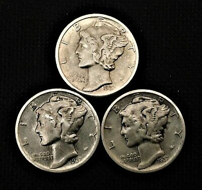 1937  P-D-S  10C SILVER Mercury Dime 3-Mint Set   XF/F/VF  Only $1 Shipping