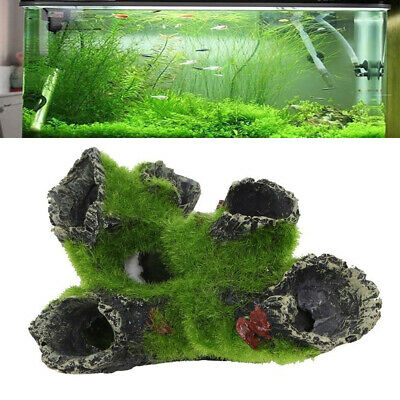 Aquarium Rock Cave Decoration with Grass for Fish Shrimp Hiding Rock Ornament