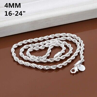 "925 Sterling Solid Silver 4MM Twisted Rope Chain Necklace 16"" - 24"" Mens Womens"