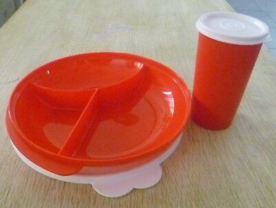 Tupperware Free Shipping New Set 2 Container Dish Divided with Lid and Tumbler