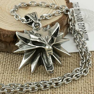 Witcher Wolf Medallion Necklace Stainless Steel Geralt Cosplay Jewellery