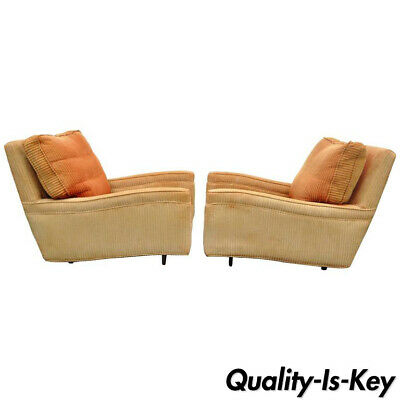 Pair of Mid-Century Modern Milo Baughman Upholstered Sculpted Club Lounge Chairs
