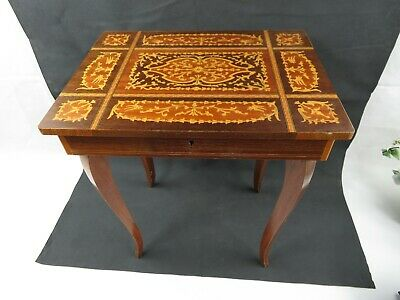 Vintage Italian Inlaid Marquetry Wood Musical Jewelry Table Swiss Music box