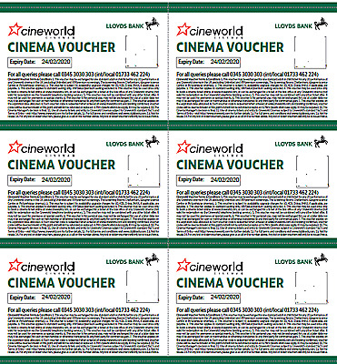 Cineworld tickets x6 expires 24/02/2020