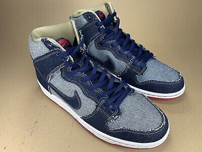 huge discount 14bf3 ca0e1 Nike SB Dunk High TRD QS Reese Forbes Dark Blue Denim Red 881758 441 Size  10.5