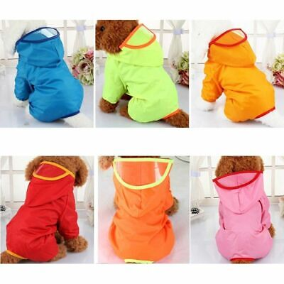 Pet Dog Rain Coat Clothes Puppy Waterproof Jacket Hooded Raincoat Outdoor
