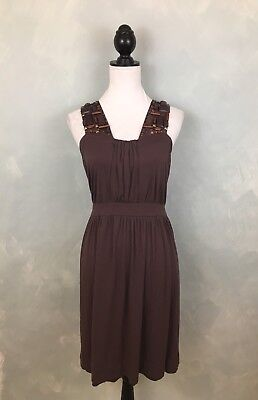0e0961ccfcdd Deletta Anthropologie L Brown Beaded Embellished Sleeveless Jersey Knit  Dress