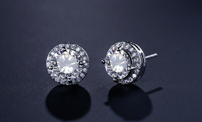 2Ct Round Cut Brilliant Moissanite Earrings Halo Stud With 14K White Gold Finish