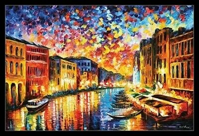 Leonid Afremov Grand Canal Grand Canal Venice Laminated & Framed Poster (36 x 24