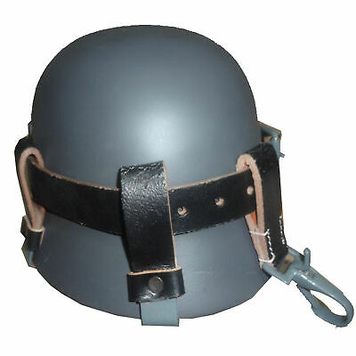 German WW2 Black Leather Helmet Carry Strap with Metal Clips (Carrier Only) kp9