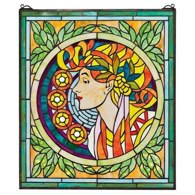 """23"""" Art Nouveau Maiden in Lush Foliage Tiffany Style Stained Glass Window Panel"""