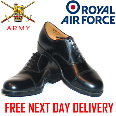 Mens Black LEATHER PARADE SERVICE SHOES British Army RAF Cadet With Toe Cap dms