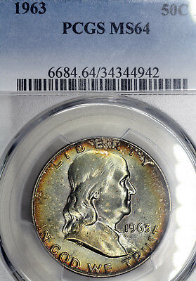 1963-P MS64 Franklin Half Dollar 50c, PCGS Graded, Exceptional Luster & Toned!