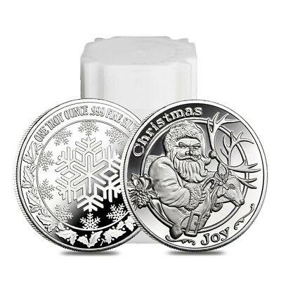 Roll of 20 - 1 oz Santa & His Reindeer Silver Christmas Round .999 Silver (Lot,