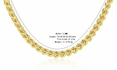 UK 16'' - 24'' INCH  3.5 MM 18K GOLD FILLED Spiga NECKLACE CHAIN MAN LADY