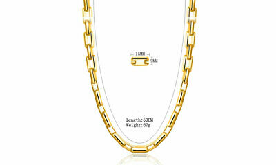 Uk 20 Inch 9Mm 18K Gold Filled Charm  Retangle Link Necklace Chain Man Lady