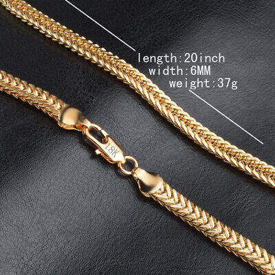 Uk 20 Inch 6Mm 18K Gold Filled Charm Wheat Necklace Chain Man Lady
