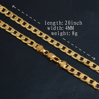 Uk 20 Inch 4Mm 18K Gold Filled Charm Curb Necklace Chain Man Lady