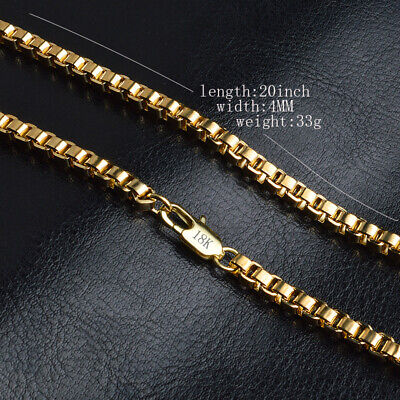 Uk 20 Inch 4Mm 18K Gold Filled Charm Box Necklace Chain Man Lady