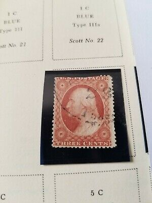 US SCOTT #25 1857 Three Cent Washington Stamp Used  in protective mount CV $175