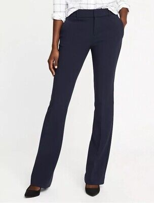 NWT Old Navy Women's Size 6 Mid-Rise Slim Flare Harper Full-Length Pants Blue