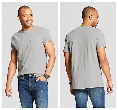 Mens Pocket T-Shirt Crew Neck Tee Masonry Gray Big & Tall XXL 2X 2XL