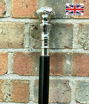 Classic Style Wooden Walking Stick Cane Brass Handle Nickle Finish Foldable Cane