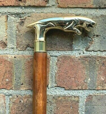 Jaguar Handle Walking Stick Cane Solid Brass Handle Wooden Brown Stick Foldable