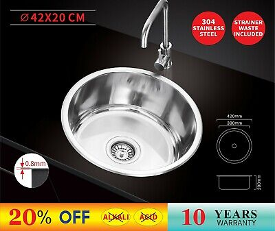 420X420X200  Stainless Steel Under/Topmount Kitchen Laundry Sink