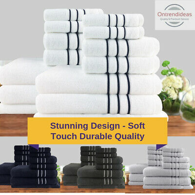 Soft 100% Cotton Bath Towel Set | Dobby Stripe Hotel | 7pc or 14pc Towel Sets