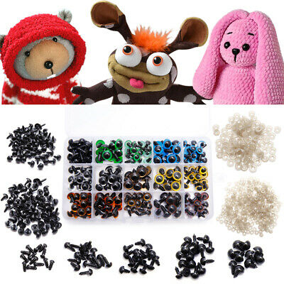 404PCS 5mm-12mm Plastic Safety Eyes Triangle Noses with Washers for Doll Making