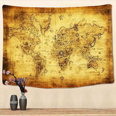 Vintage World Map Tapestry Home Wall Hanging Art Map Print Tapestry