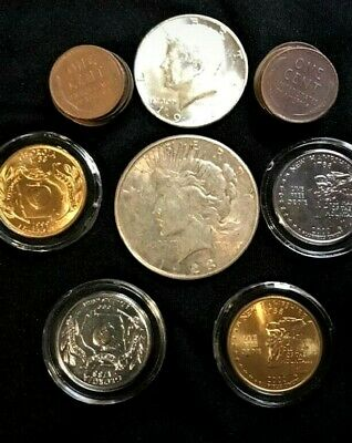 """Silver Dollar PLUS 21 US Coins Lot w/ Gold & Official US Coin """"Red Book"""""""