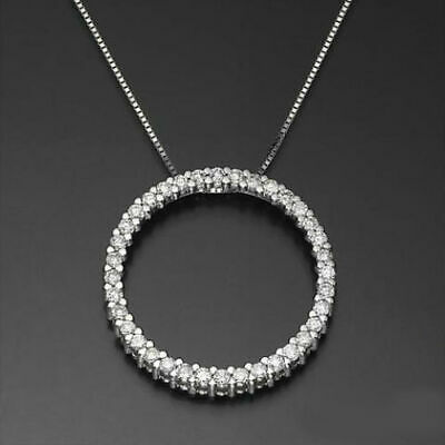 2 Ct Vs Circle Necklace Round Real Diamonds Pendant 18K White Gold Promise Hoop