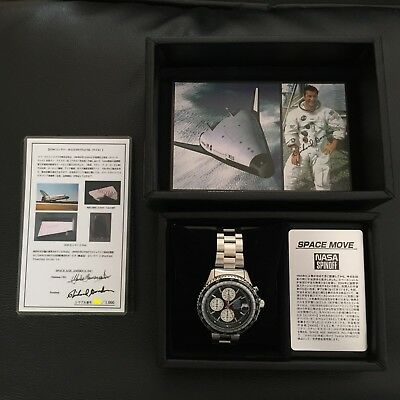 NOS Seiko NASA SPINOFF Space Move Space shuttle tile on the dial Black