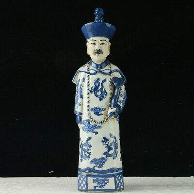 China Underglaze Blue Porcelain Hand Carved Ancient Chinese Officials Statue+b